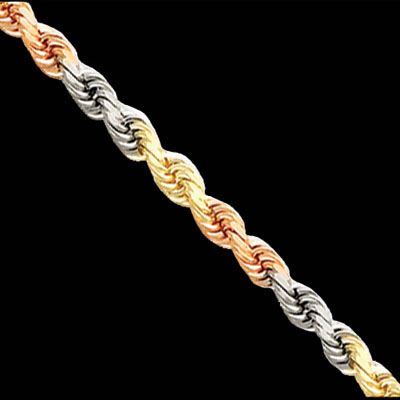 Tri Color Gold Rope Chain