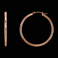 Gold 2mm Tube Hoop Earrings