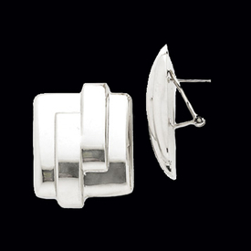 Square White Gold Omega Back Earrings