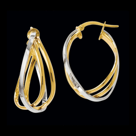 Two Tone Twisted Hoop Earrings
