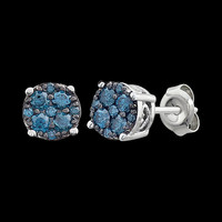 Blue Diamond Cluster Earrings