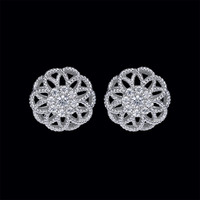 Diamond Cluster Flower Earrings