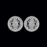 Fancy Round Design Diamond Earrings