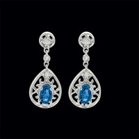 Lovely Blue Sapphire & Diamond Earrings