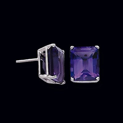Emerald Cut Amethyst Earrings