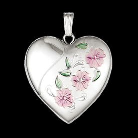 Silver Enameled Floral Locket