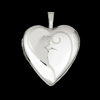 Silver Heart Diamond Locket
