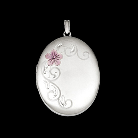 Silver Scroll Flower Locket