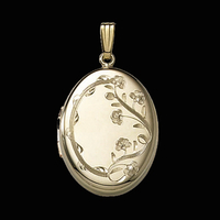 Large Floral Gold Locket