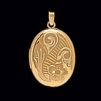 Fancy Gold Locket Floral Design