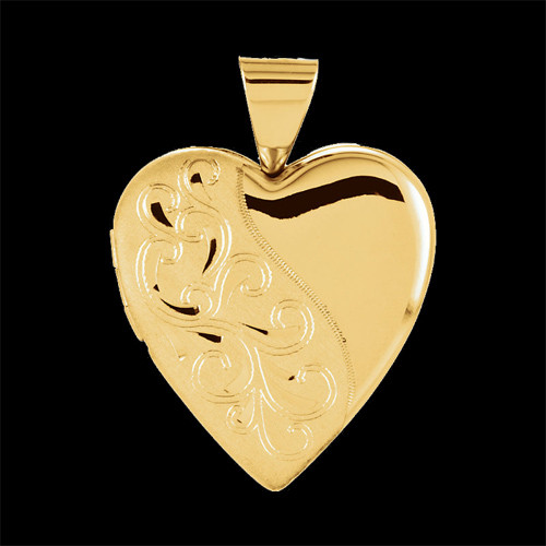 Scroll Design Heart Locket Jewelry With Engravings