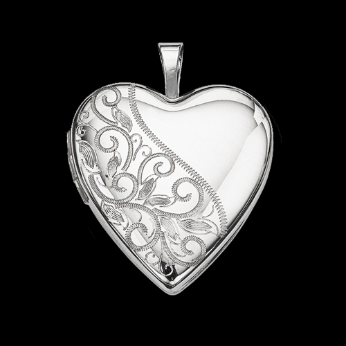 Silver Side Swirl Heart Locket