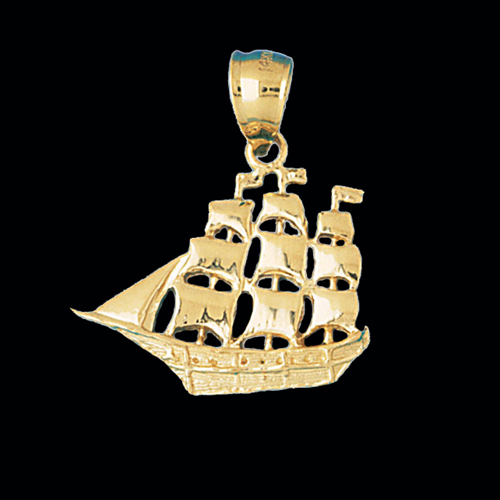 Gold Schooner Sailing Ship Pendant