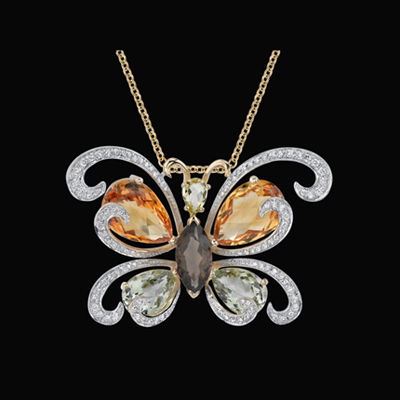 Large Gemstone Butterfly Necklace