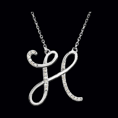 H Letter In Diamond Diamond Initial Necklace