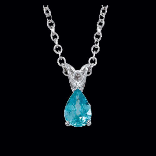 Blue Zircon White Gold Necklace