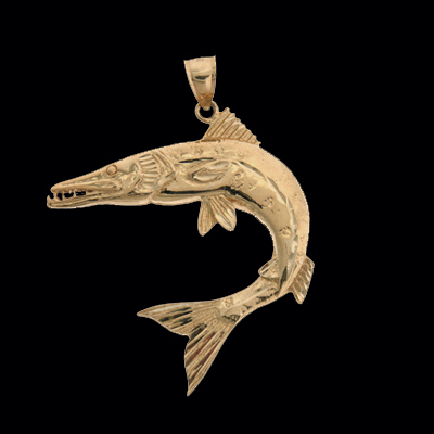 Barracuda gold fish pendant for Gold fish pendant