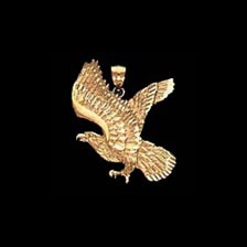 Eagle in Flight Gold Pendant