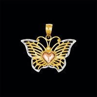 Tri Color Butterfly Heart Pendant