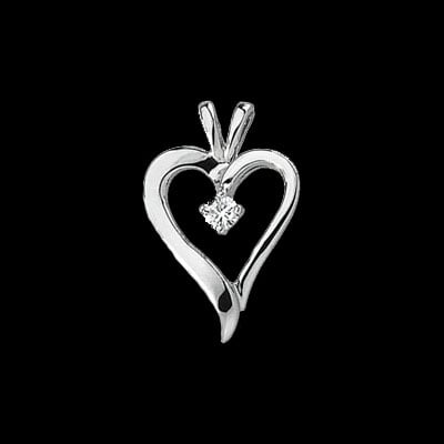Simple Diamond Heart Pendant