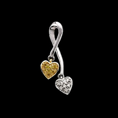 Diamond Dangle Hearts Pendant