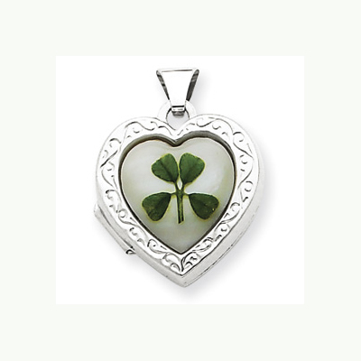 Silver 4 Leaf Clover Locket