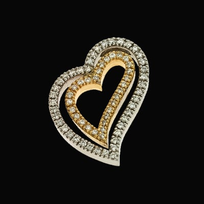 SKP2744 Double Diamond Heart Pendant