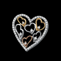 Tri Color Diamond Heart Pendant