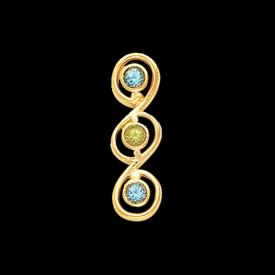 Multi Gemstone Gold Pendant