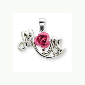 Silver Pink Flower Pendant