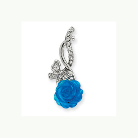 Silver Blue Flower Chain Slide