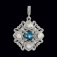 Romantic Diamond Blue Topaz Pendant