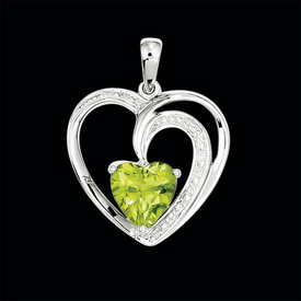 Gemstone and Diamond Heart Pendant