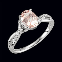 Morganite Diamond Twist Ring