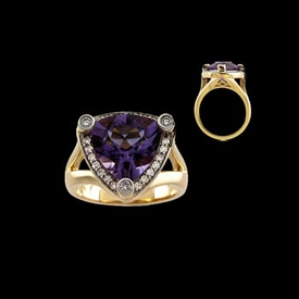 Trillion Amethyst Diamond Ring