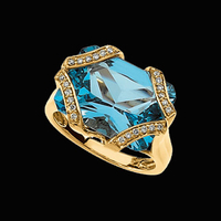 Beautiful Swiss Blue Topaz Diamond Ring