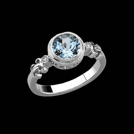 Stylish Aquamarine Diamond Ring