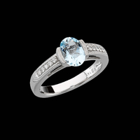 CE326-66 Aquamarine and Diamond Ring