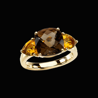 Citrine Smoky Quartz Ring