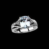 Genuine Aquamarine Diamond Ring