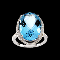 Incredible Blue Topaz Diamond Ring