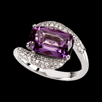 Amethyst Diamond Bypass Ring