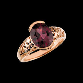 CE288-67 Rhodolite Garnet & Diamond Ring