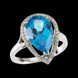 Swiss Blue Topaz Diamond Ring