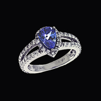 Pear Tanzanite Diamond Ring