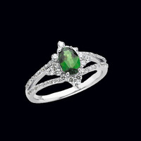 Tsavorite Garnet & Diamond Ring