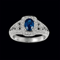 Blue Sapphire Diamond Antique Ring