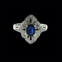 Blue Sapphire Diamond Cut Out Ring