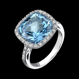 Vibrant Blue Topaz Diamond Ring