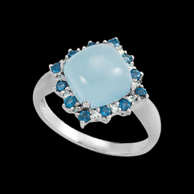 Milky Aquamarine Topaz & Diamond Ring
